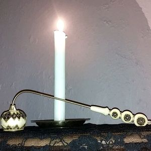 Vintage hand painted candle snufter